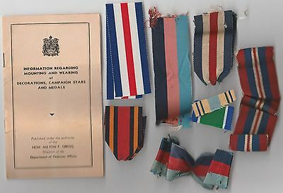 Army Navy RCAF Medal Mount Book 1945 + Ribbons Germany 1939 Star Burma War Medal