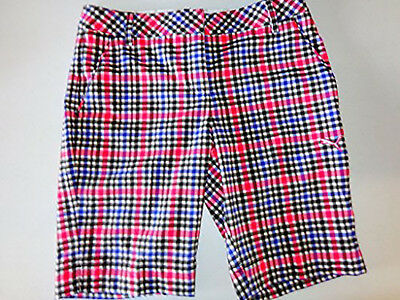 New Lady Puma Golf Plaid Tech Bermuda Shorts Black Multi Plaid Size US 6 D 36