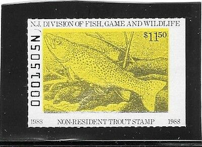 New Jersey Trout Stamp - Non-Resident - MNH - 1988