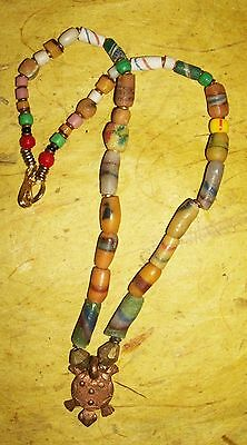 African Turtle Trade Bead and Brass choker necklace pendant Fair Trade jnrt8