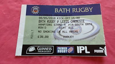 Bath v Leeds Carnegie 2010 Used Rugby Ticket