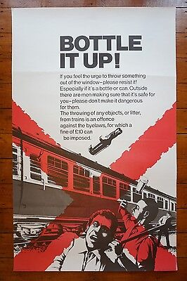 1972 Bottle It Up BR Safety Original Railway Travel Poster