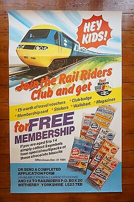 1980s Inter City 125 Rail Riders Club Original Railway Travel Poster