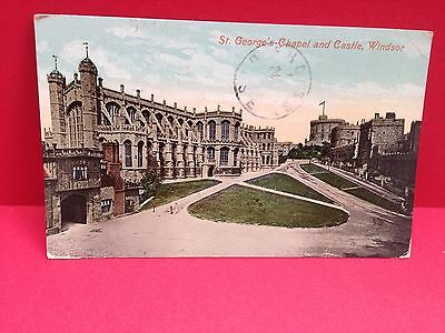 1910 Valentine's Postcard,st.Georges Chapel and Castle, Windsor
