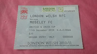 London Welsh v Moseley 2010 Used Rugby Ticket