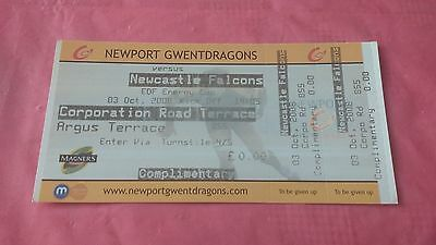 Newport Gwent Dragons v Newcastle Falcons 2008 Used Rugby Ticket