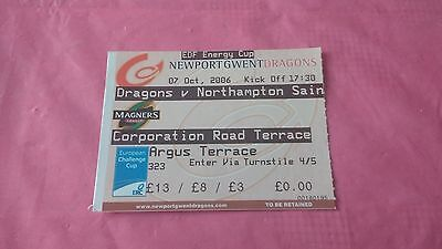 Newport Gwent Dragons v Northampton Saints 2006 Used Rugby Ticket