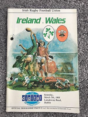 Ireland v Wales Rugby Programme 1988