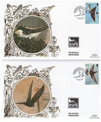 ASCENSION ISLAND 1998 BIRDS 2 x RSPB OFFICIAL BENHAM SILK FIRST DAY COVERS SWIFT
