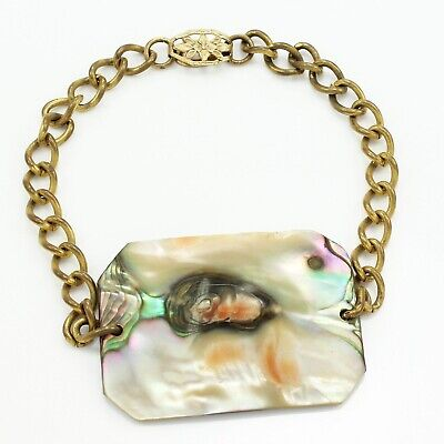 VINTAGE Operculum Cats Eye Shell Statement Bracelet Brass Curb Chain 7 inches