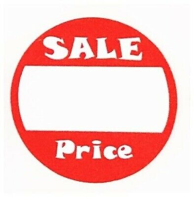 "100 RED + WHITE Adhesive Labels ""SALE"" Garage Price Tags Stickers 1"" inch Round"