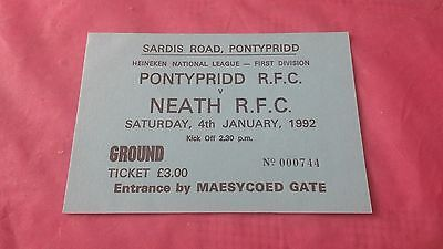 Pontypridd v Neath 1992 Used Rugby Ticket