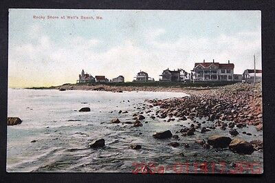 c.1908 Postcard Houses Along the Rocky Shore at Well's Beach, Maine  Posted