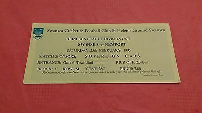 Swansea v Newport 1995 Used Rugby Ticket