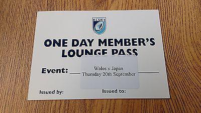 Wales v Japan 2007 Used Rugby Hospitality Pass