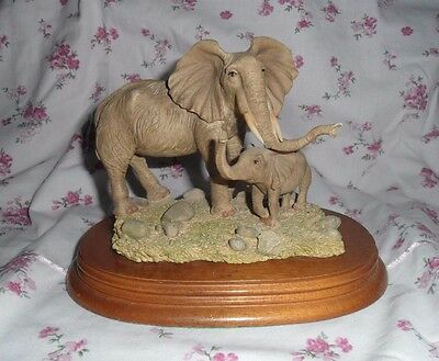 Elephant and Baby Realistic Mounted Collectable Figurine