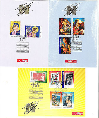 Australia 2005/6/7 Christmas issues on Philatelic Centre cards