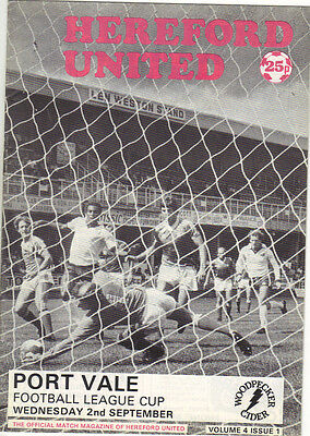 Hereford United v Port Vale 1981/82 league cup 1st round 1st leg