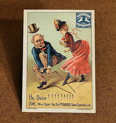 Mennen Corn Killer Victorian Trade Card VTC Man with Tophat Holding His Foot