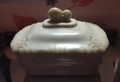 Antique milk glass lidded soap dish, very old maker unknown excellent condition