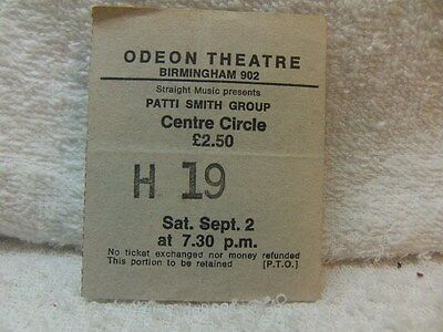 Patti Smith Group – Ticket stub for Birmingham Odeon Theatre September 2nd 1978
