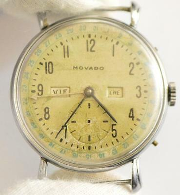 MOVADO 470 Vintage TRIPLE CALENDAR WATCH Ø33.8MM FIXED WIRED LUGS         S2#124