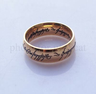 LOTR The Lord Of Rings One Ring To Rule Them All Gold Plated Ring Hobbit Carved