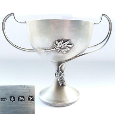 *STUNNING 1930 ENGLISH STERLING SILVER FLORAL CUP GOBLET J A Restall & Co 166.5g