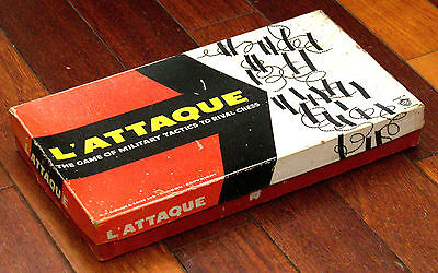 1950s L'ATTAQUE Vintage British Army Board Game Military Tactics Metal Stands
