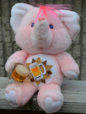 """Adult BOOZY CARE BEAR Male with Removeable Beer PINK ELEPHANT Vintage 12"""" Plush"""