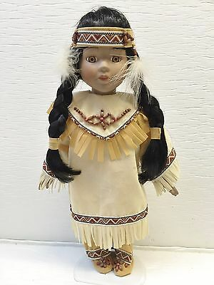 "Porcelain 15"" Native American Doll w/Papoose & Stand"