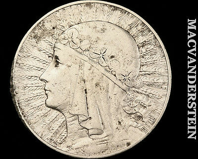 1932 Poland 10 Zoltych- Silver !! Better Date !! #o8149
