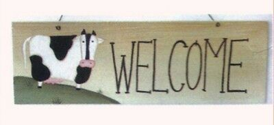 "12x4"" Wood Country Primitive Kitchen Home Decor Plaque cow WELCOME sign"