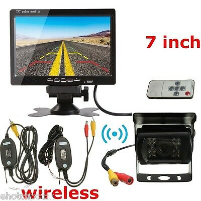 "Rear View Backup Camera Night Vision Wireless System+7"" Monitor For RV Truck Bus"