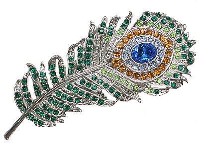 Peacock Feather Hair Barrette Gorgeous Multicolors Crystal