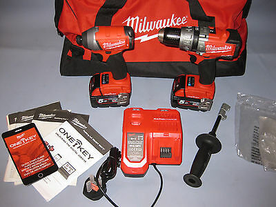 Milwaukee M18ONEPP2-502X 18v Fuel ONE-KEY Twin Pack + 2 x 5.0Ah, Charger + Bag