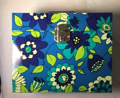 Vintage FLOWER POWER METAL FILE BOX 1970's Portable Mod Groovy Lock & Key