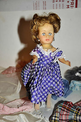 1950's COSMOPOLITAN GINNY GINGER DOLL W SLEEP EYES & MANY TAGGED DRESSES CLOTHES