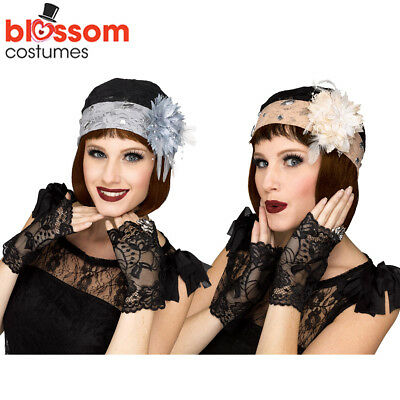 AC33 Great Gatsby 20s Fringe Flapper Lace Cloche Gloves 1920s Costume Accessory