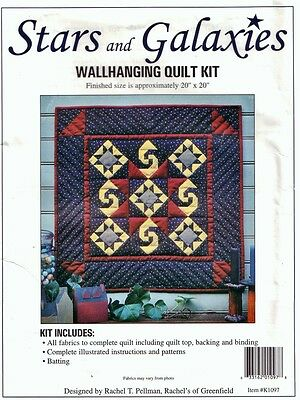 "STARS & GALAXIES WALLHANGING KIT Rachel's of Greenfield 20""sq QUILTING Patchwork"