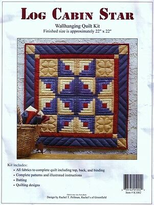 "LOG CABIN STAR WALLHANGING QUILTKIT Rachels of Greenfield 22"" QUILTING Patchwork"