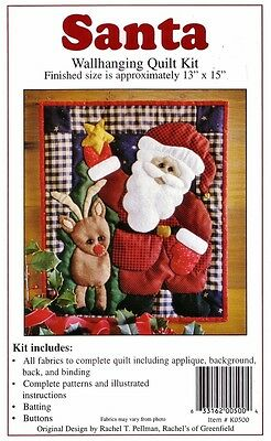 "SANTA WALLHANGING QUILT KIT 13""x15"" Rachel's of Greenfield QUILTING Patchwork"