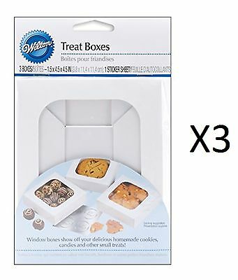 Wilton Treat Boxes Set of 3 Clear Window Cake Candies Cookies Treats (3-Pack)