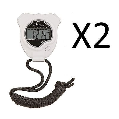 Champion Sports Running Walking Stop Watch-Stopwatch-Alarm-White (2-Pack)