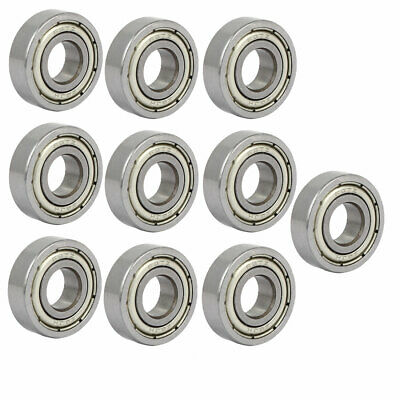 697ZZ Steel Shielded Deep Groove Ball Bearings Silver Tone 17mmx7mmx5mm 10pcs