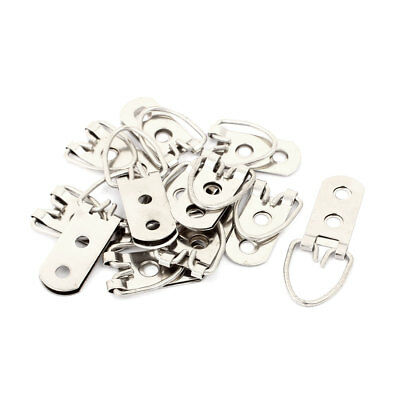 ... 50mmx20mm 2 Holes D Ring Picture Painting Frame Hanger Hook Silver Tone 10pcs