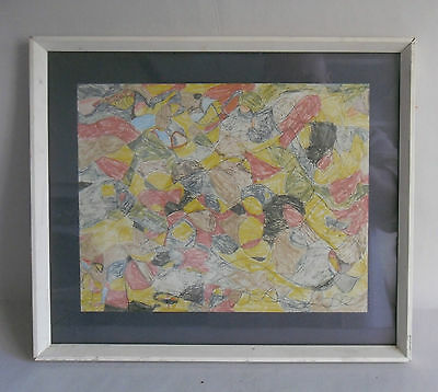 1960s Framed & Glazed Pencil Drawing by an Autistic Girl. Mid-Century Abstract