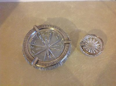 To Solid Silver And Glass Ashtrays
