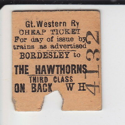 Bordesley to The Hawthorns - Great Western 3rd Class Cheap Ticket - Dated 1965