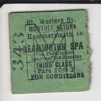 Hammersmith to Leamington Spa - Great Western 3rd Monthly Return - Dated 1954